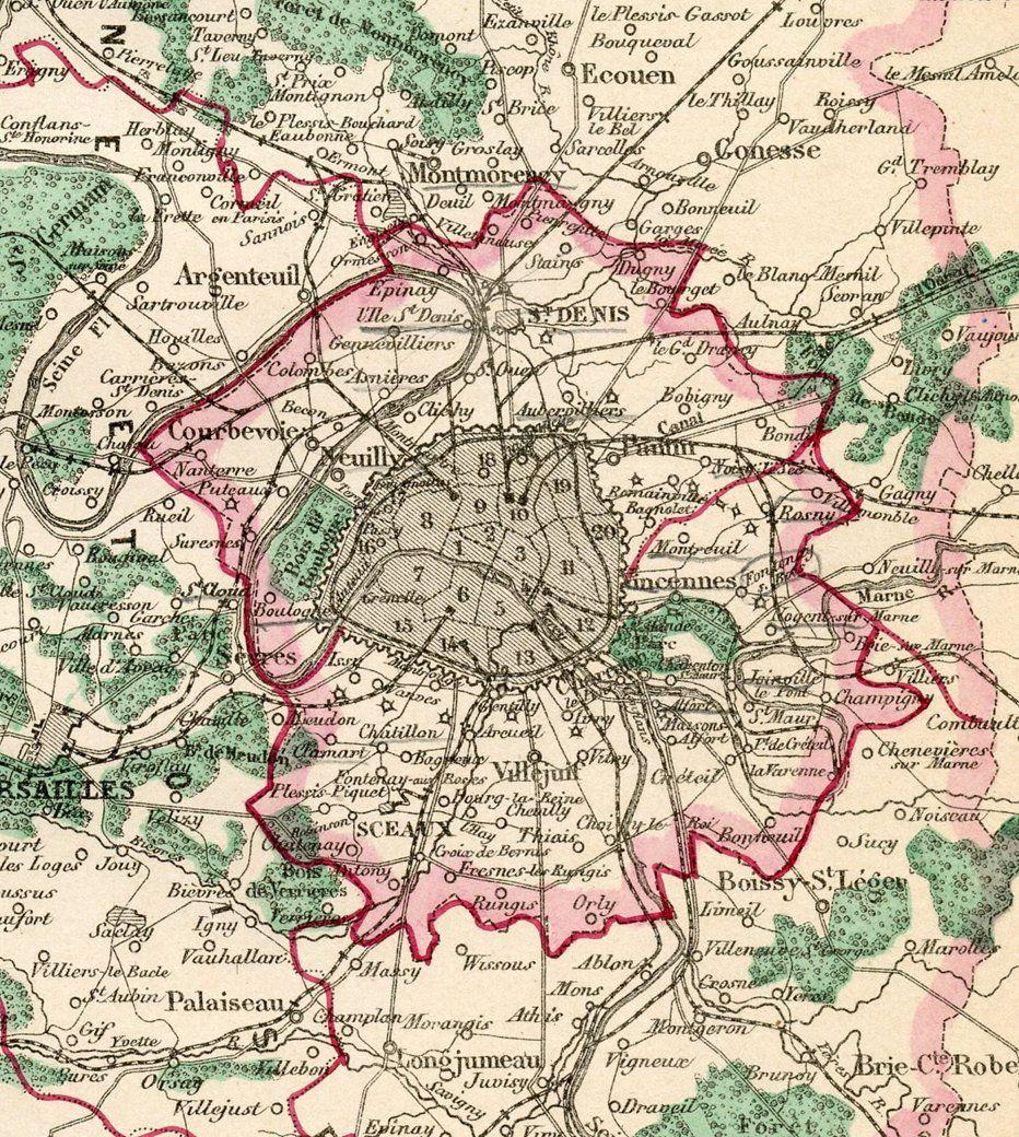 1860s Map Of Paris Surrounding Areas Top Vintage Dealers Vintage One Kings Lane Sponsored Ad Surroundi Paris Map Vintage World Maps One Kings Lane