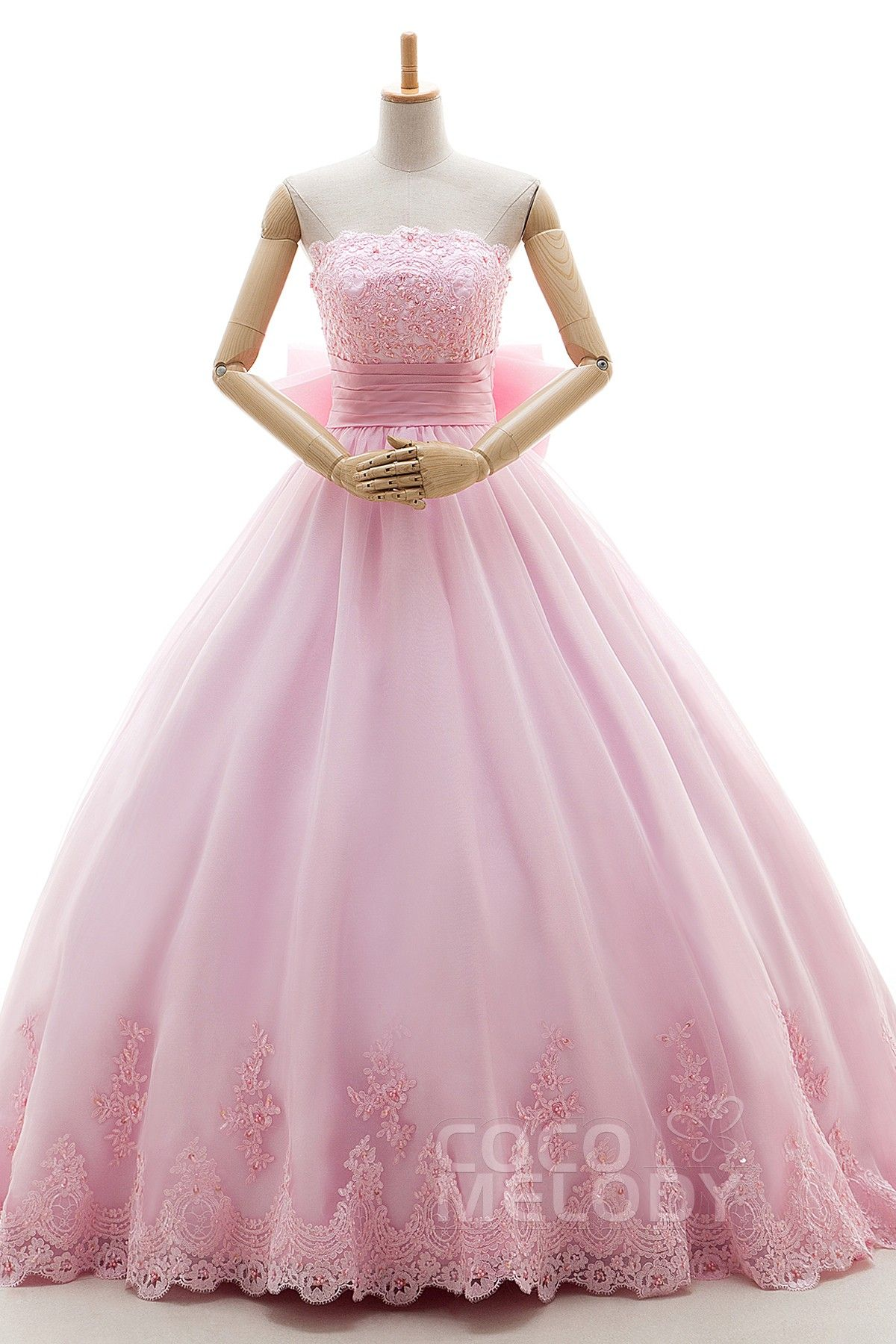 Romantic A-Line Strapless Natural Court Train Organza Veiled Rose ...