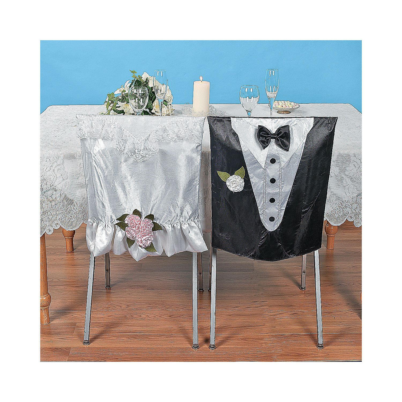 Bride & Groom Chair Covers OrientalTrading
