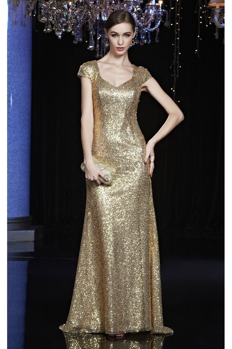 Gold/Green Cap Sleeves Full Sequins Fishtail Ball Gown B155 | 2015 ...