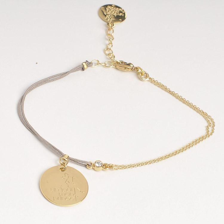YOS - Un jour mon prince  Bracelet plaque gravée Un jour mon prince - moitié chaine, moitié cordon  53€