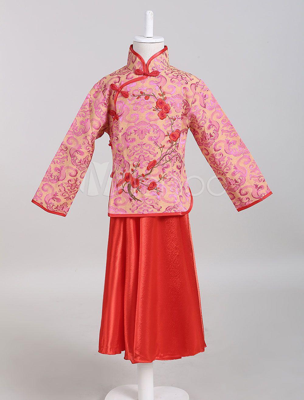 Disfraz de Niños chino de corte tradicional Estilo chino Jacquard ...