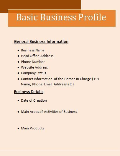 Business Profile Template Wordstemplatesorg Pinterest - name and phone number template