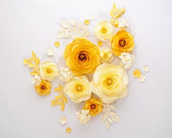 Gold Paper Flowers Wedding Flowers Wall Wedding Backdrop Paper