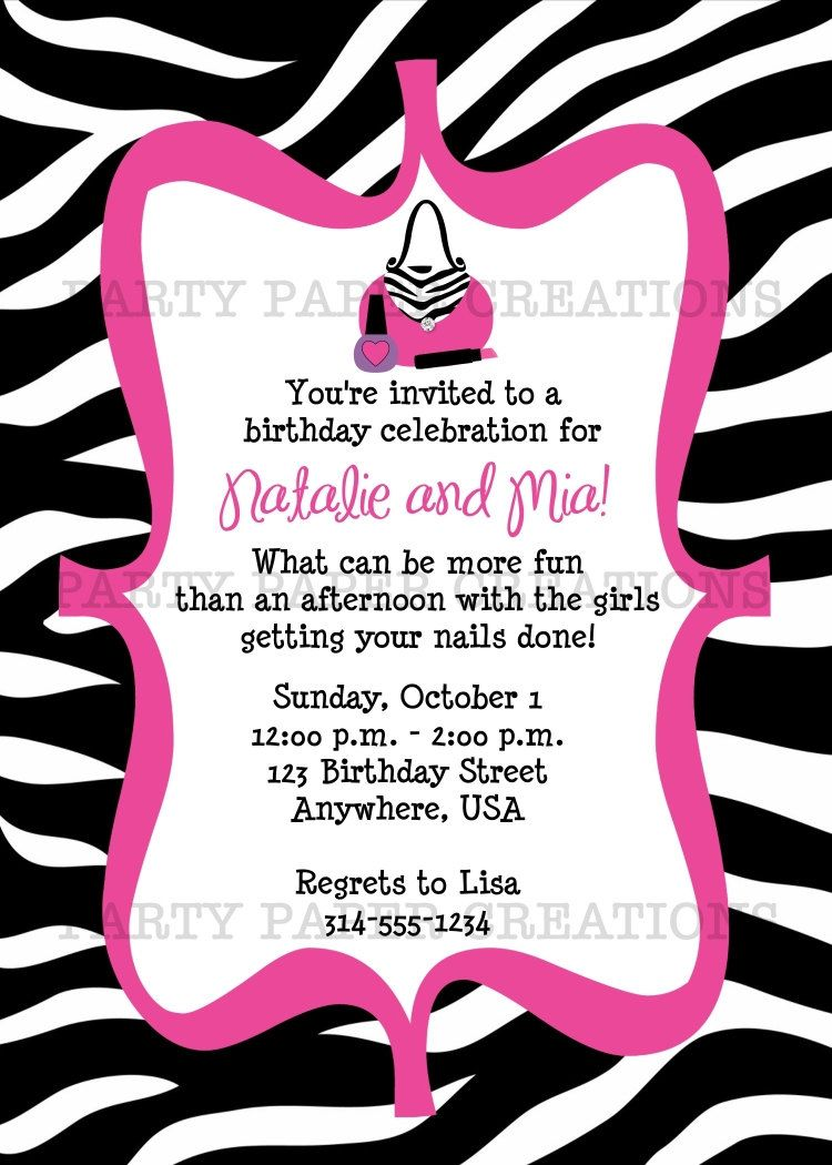 invitations to print birthday invitation glamour girl birthday invitation glamour girl birthday party printable