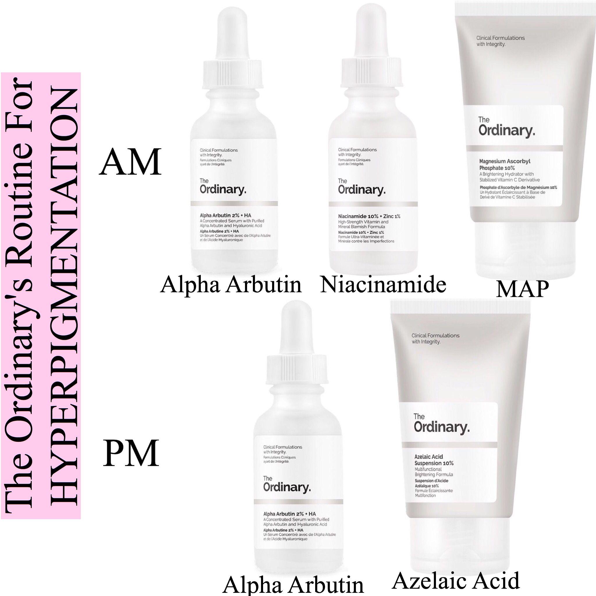 Example regimen for pigmentation issues AM Alpha Arbutin