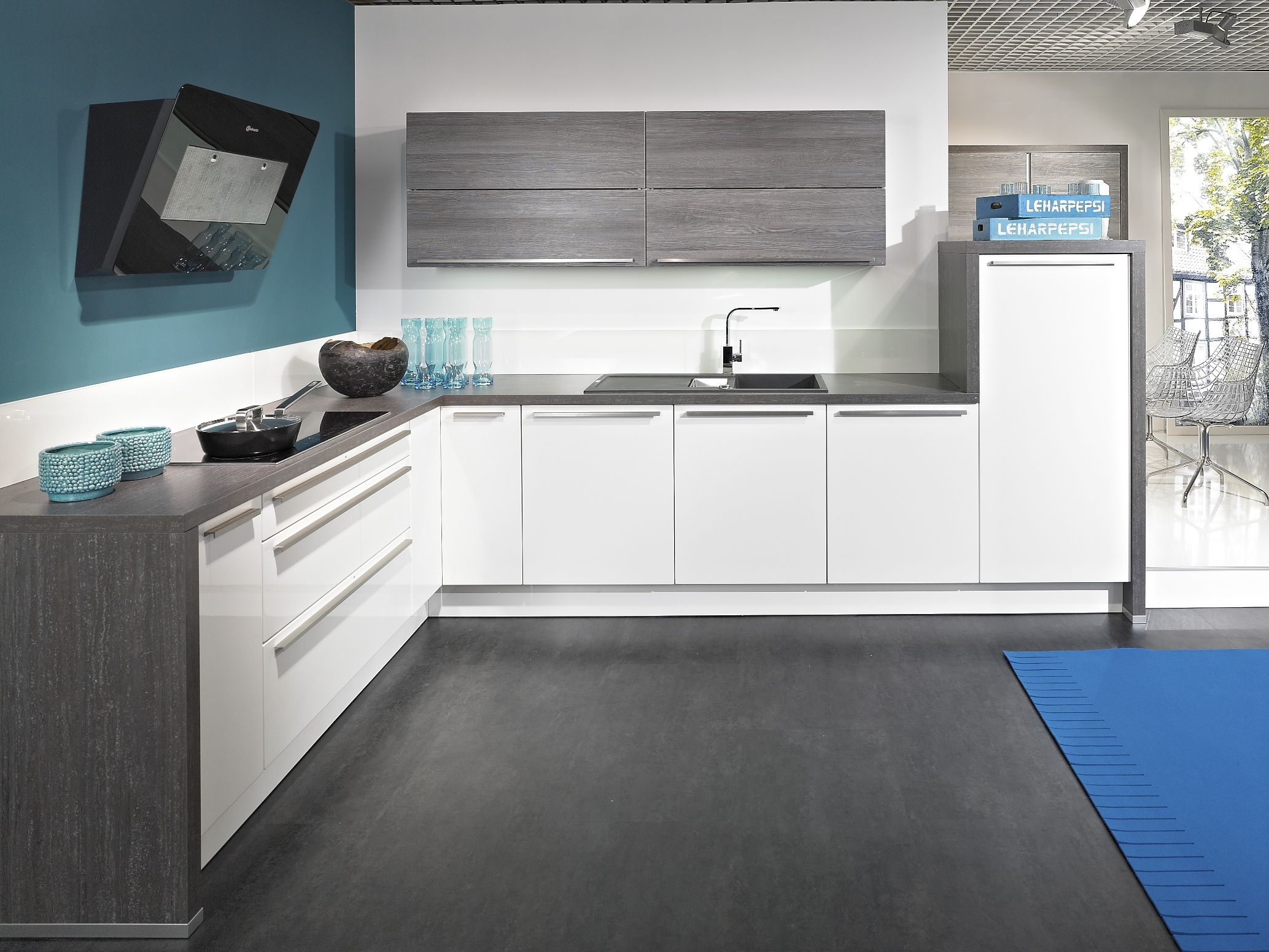 Ikea kitchen idea white gloss pngbdttm home kitchen for Grey blue white kitchen