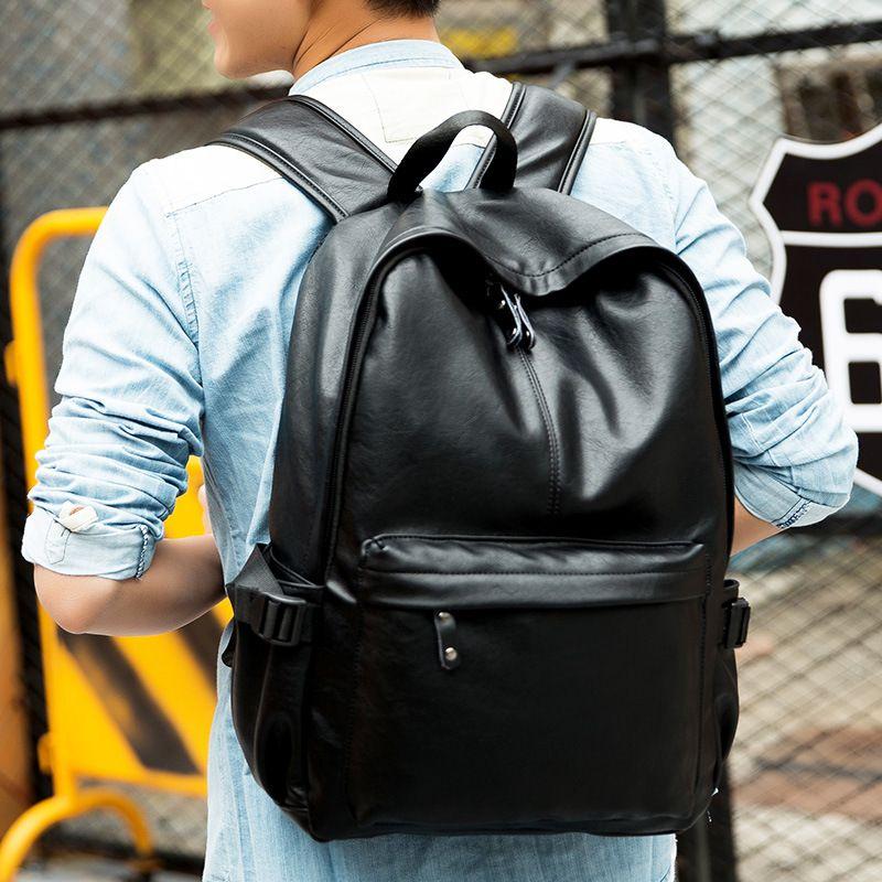 Wholesale Man Backpack 2017 Men Bags Leather Shoulder Bag Black ...