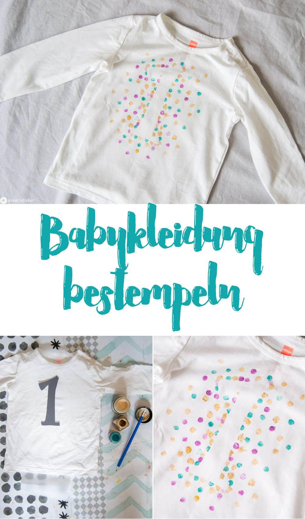 Babykleidung Bemalen Fur Den 1 Geburtstag Punkteshirt Stempeln