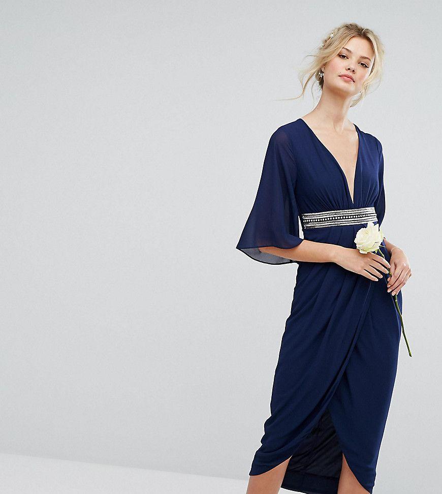 Tfnc tall wedding kimono sleeve midi dress with wrap skirt navy