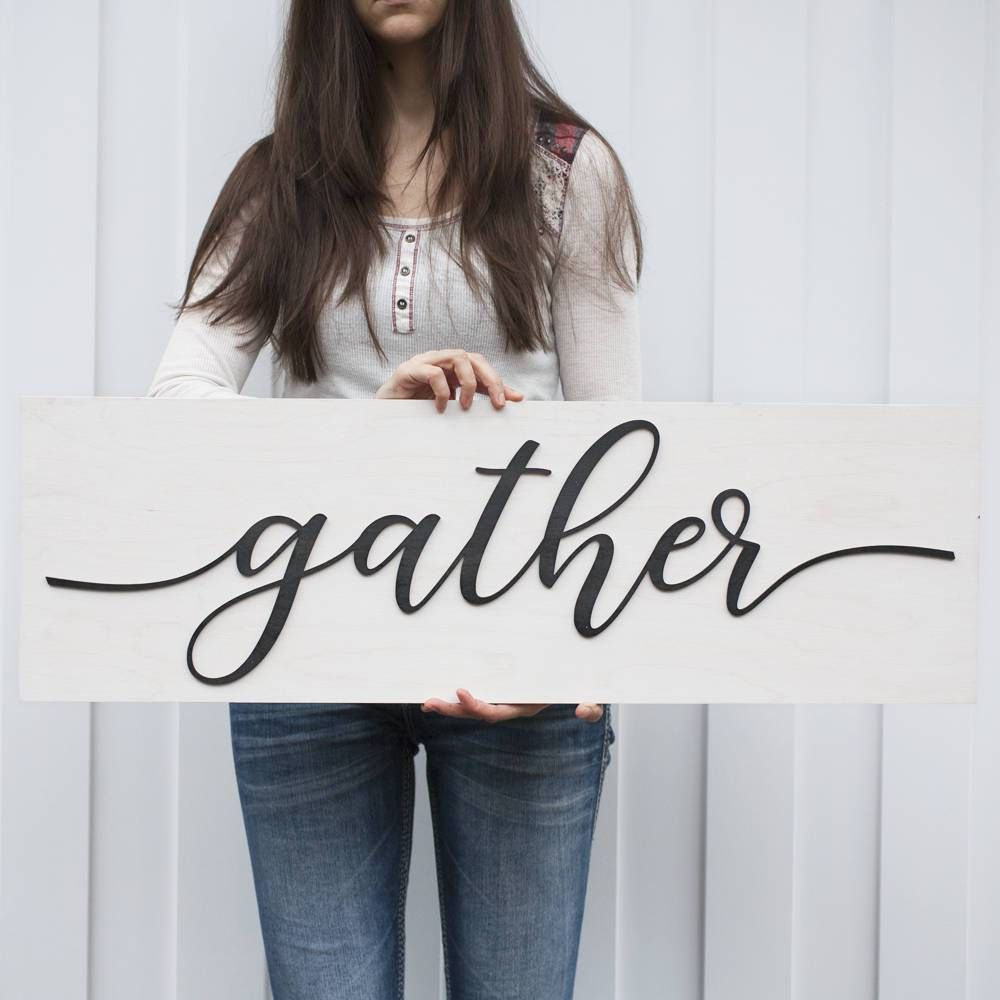 Gather Sign White Washed Large Pinterest Wood Signs Shabby And