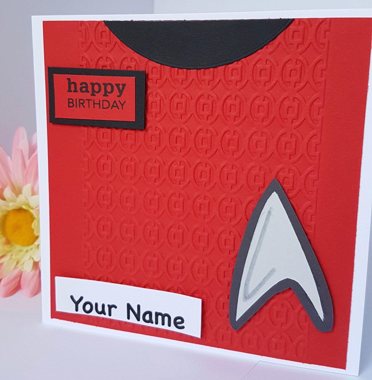 Personalised Star Trek Badge Birthday Card Kirk Spock Uhura Sulu