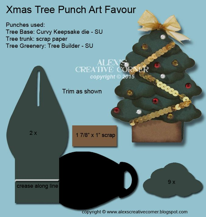 Christmas, favour, treat, stocking stuffer, SU, Stampin Up, Curvy Keepsake, punch art. Tree Builder punch.