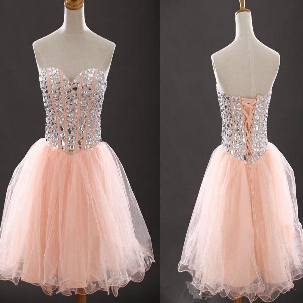 Pink short dress casual  Strapless sweetheart peach pink lovely tight for teens casual