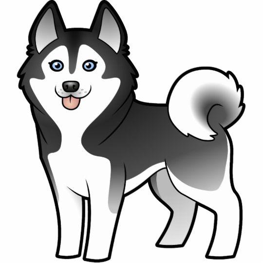 Cartoon Siberian Husky / Alaskan Malamute Cutout | Cosas kawaii ...
