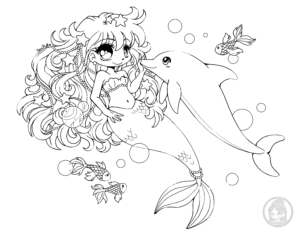 Mermaid and dolphin chibi lineart by YamPuff | Chibi coloring ...