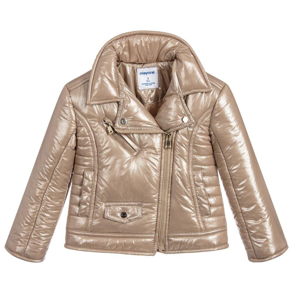 e4042f3f0e6b Gold Puffer Biker Jacket