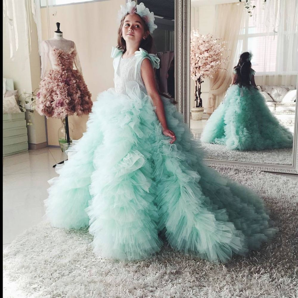 Click to Buy << Beautiful Mint Flower Girls Dresses with Ruffles ...