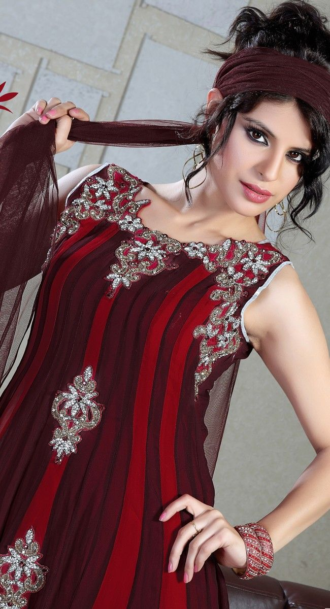Attractive Brick Red & Burgundy Salwar Kameez$166.00