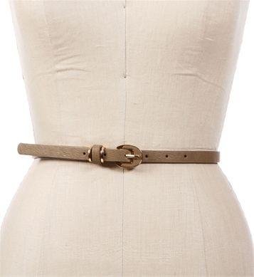 Taupe/Gold Skinny Belt