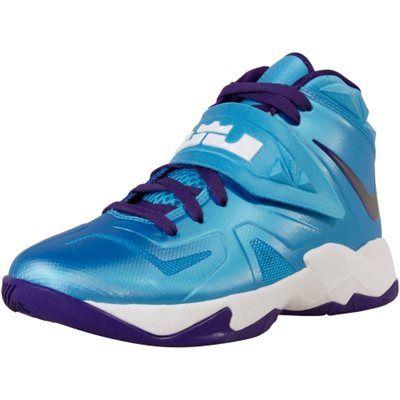 Nike Soldier 7 Youth Basketball Shoes - Vivid Blue/Metallic Silver/Court  Purple