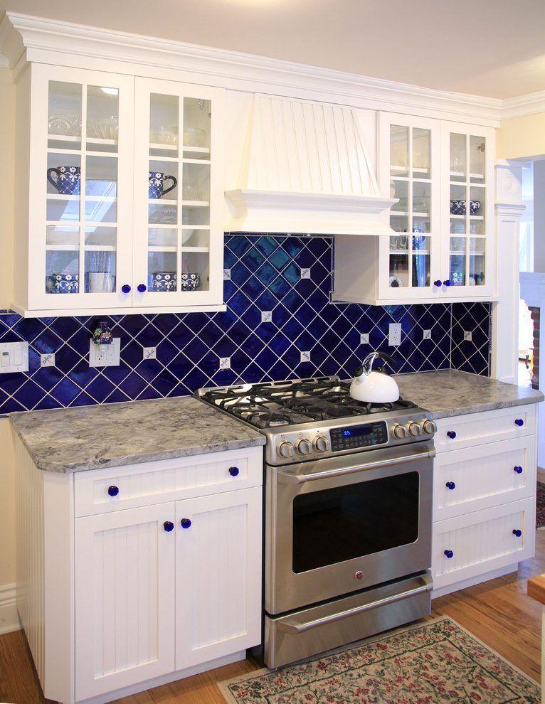 Cobalt Blue Backsplash Kitchen Traditional With Ceramic Tile For