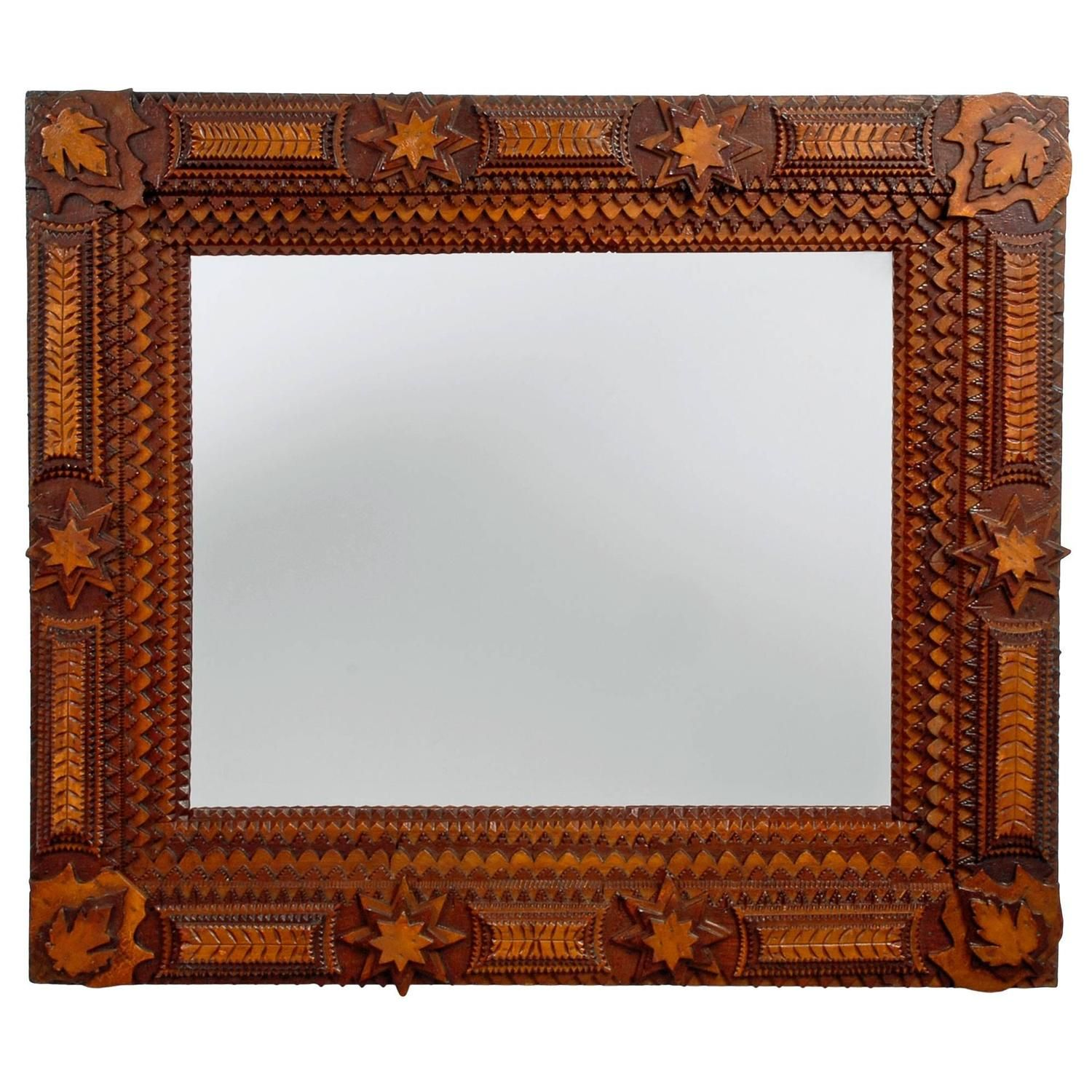 Impressive Complex Tramp Art Mirror with Stars | Star and Folk art