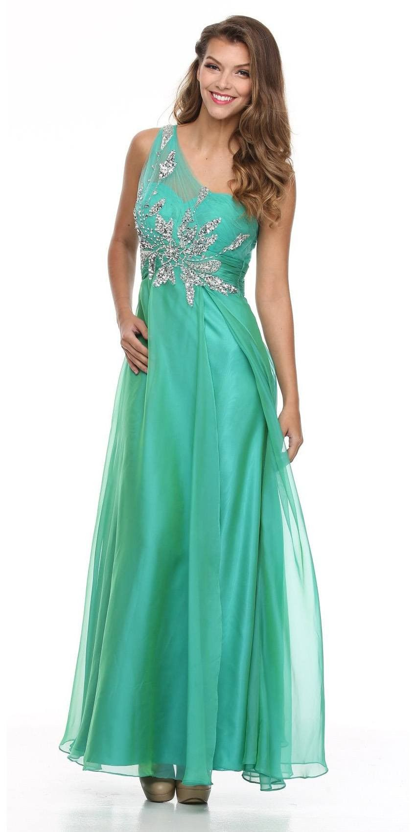 Sheer One Shoulder Studded Long A Line Jade Formal Gown | Formal ...