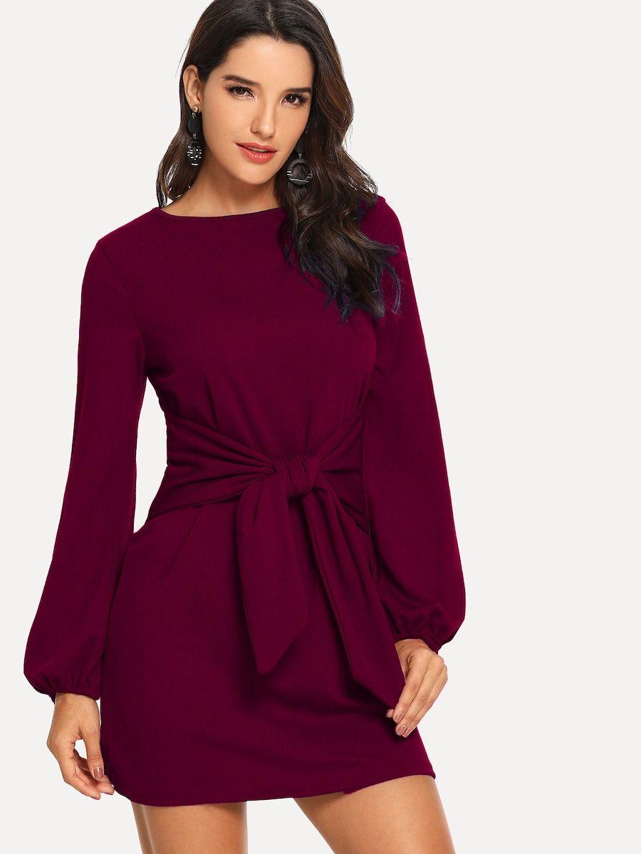 Knot Waist Solid Dress -SheIn(Sheinside)  3b142354e53d