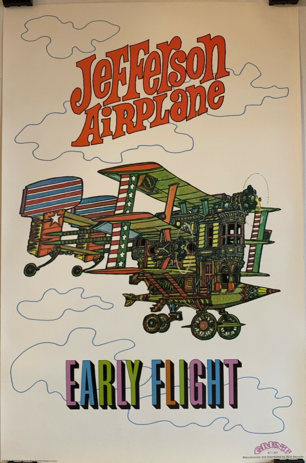 JEFFERSON AIRPLANE EARLY Flight Grunt Records Promo Poster