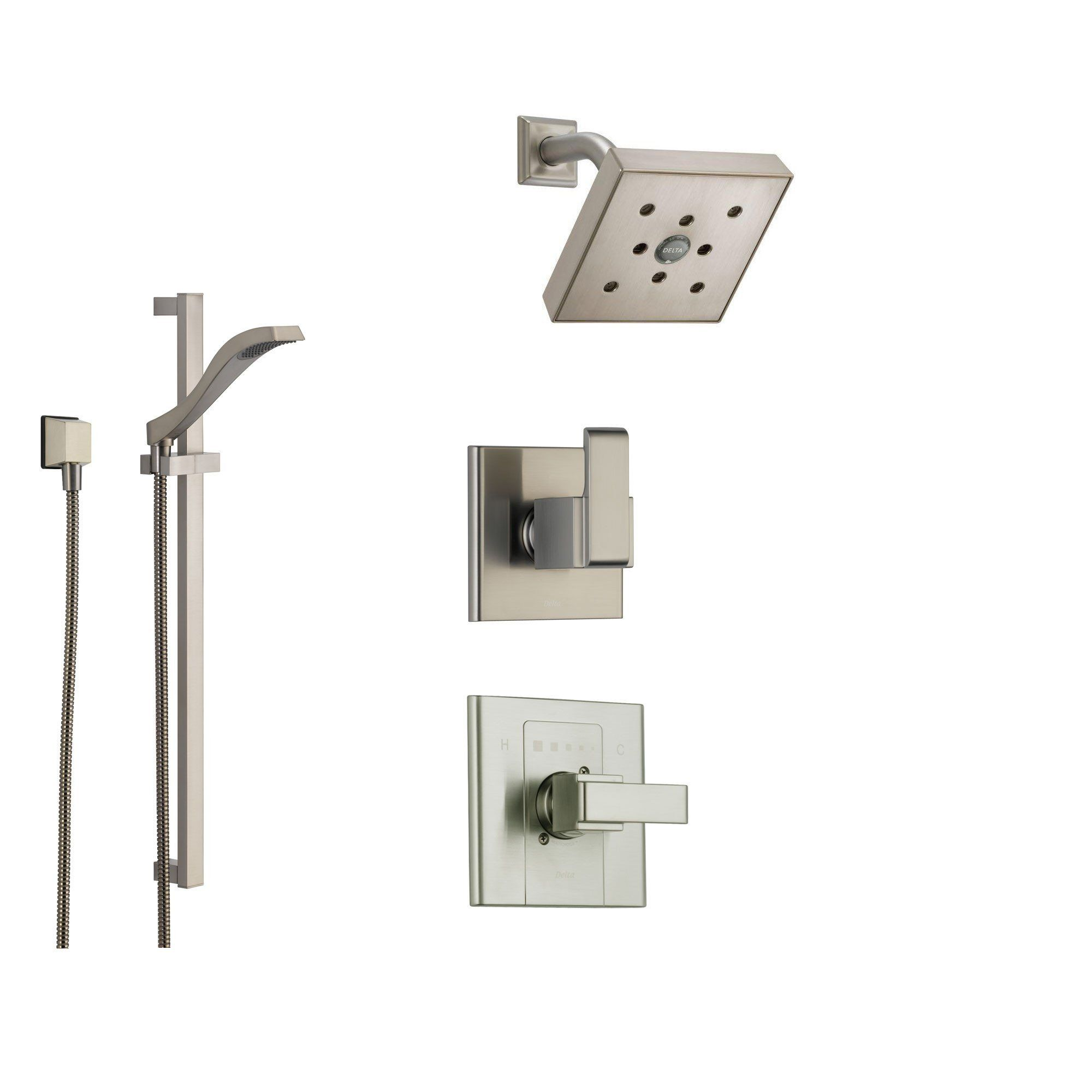 Delta Arzo Stainless Steel Shower System With Normal Shower Handle,  3 Setting Diverter,