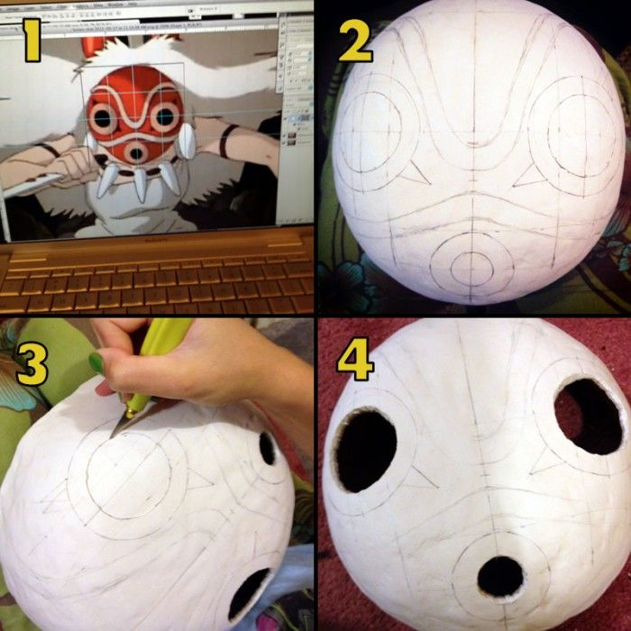 Princess Mononoke Mask Tutorial More Cosplay Diy Princess Mononoke Cosplay Princess Mononoke
