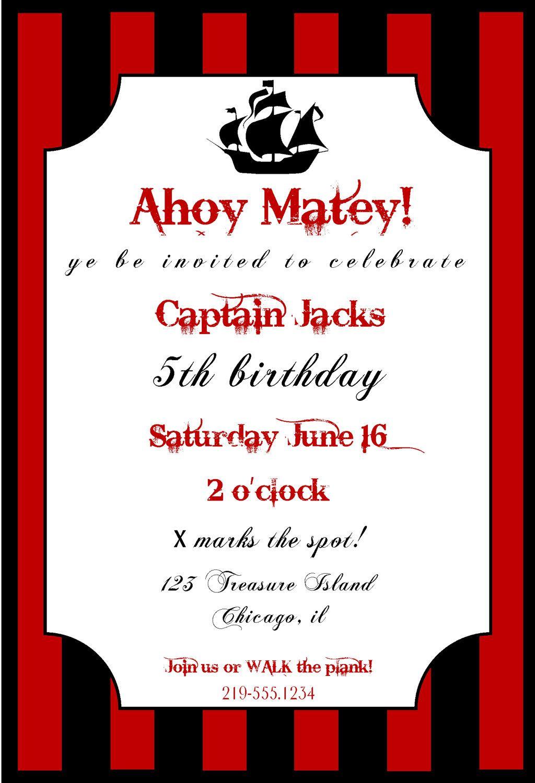 love the fonts! Pirate Birthday Invitation | kids | Pinterest ...