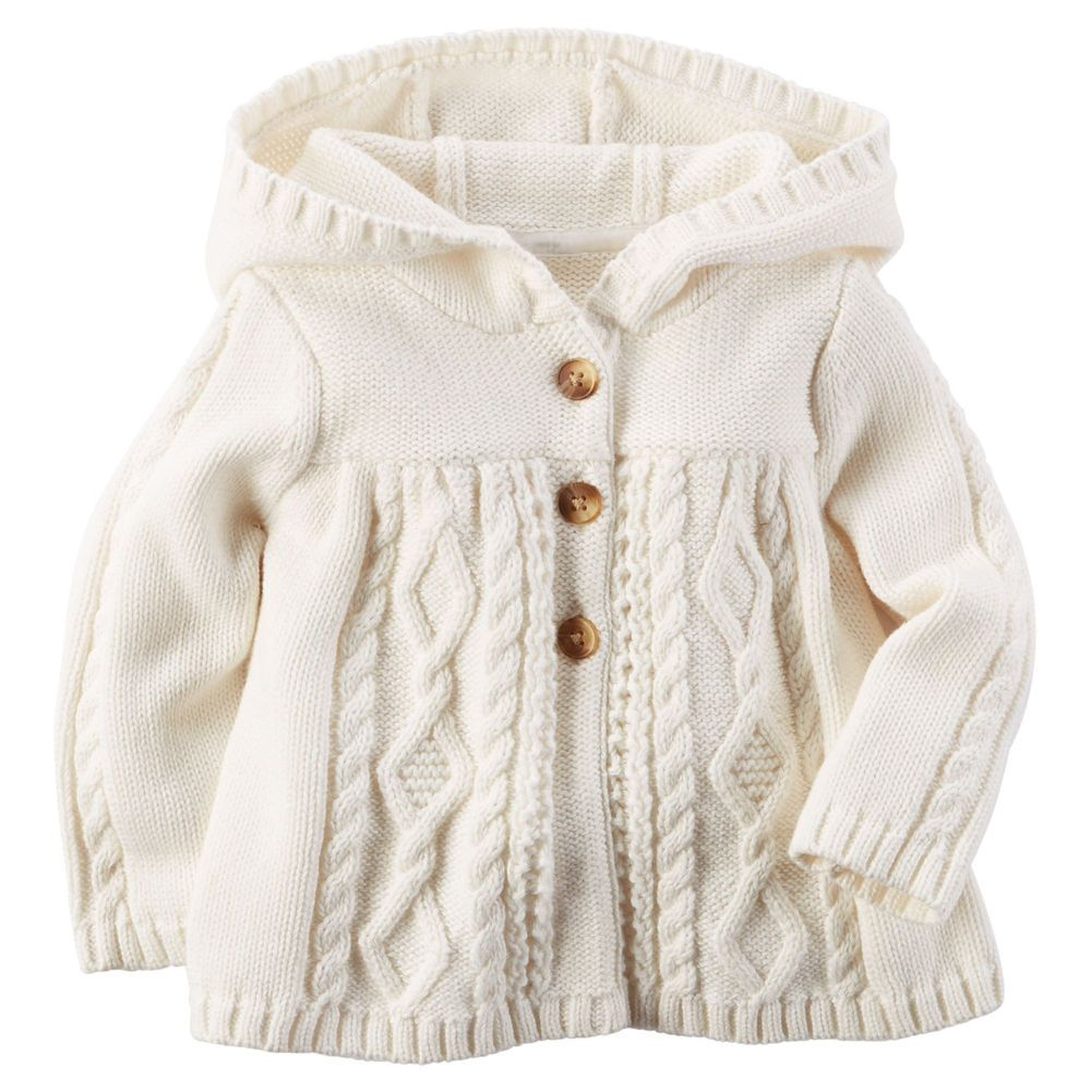 3ab01c18f Carters Newborn 3 6 9 12 18 24 Months Hooded Cardigan Baby Girl ...