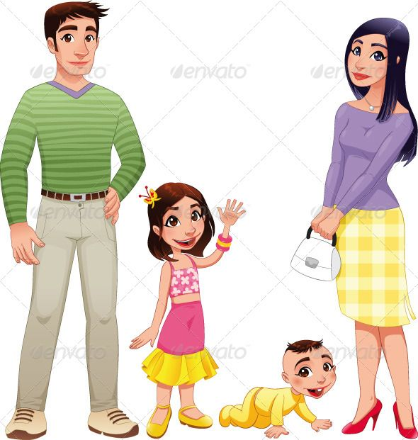 Human Family With Mother Father And Children Cartoon Kids Human Logo Kids Fathers