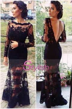2015 Hot Selling Evening Dresses Bateau Full Sleeves Mermaid With Deep V Shape Back Lace&Tulle USD 179.99 STPYCLDAQC - StylishPromDress.com