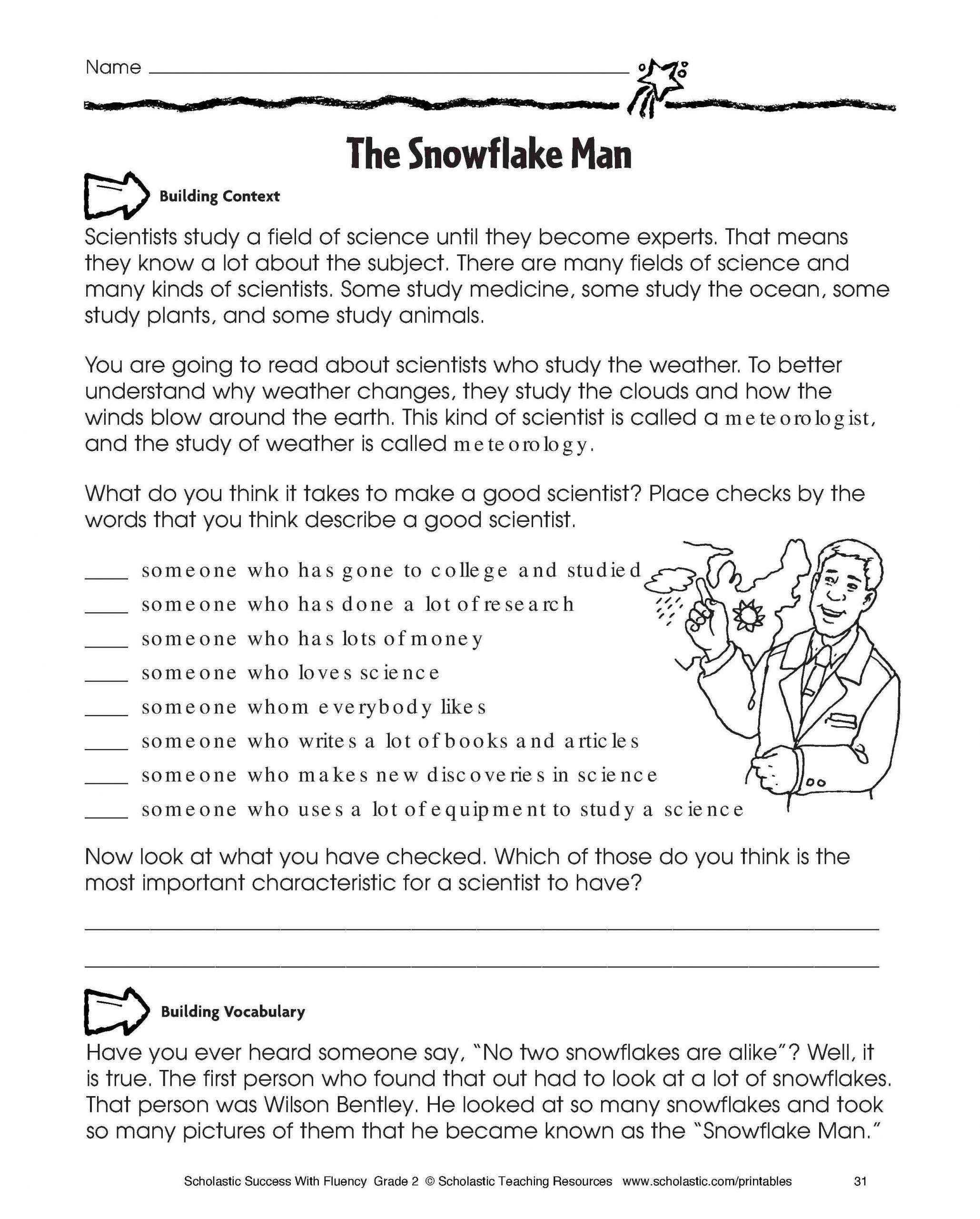 2nd Grade Comprehension Worksheet Free Reading Prehension
