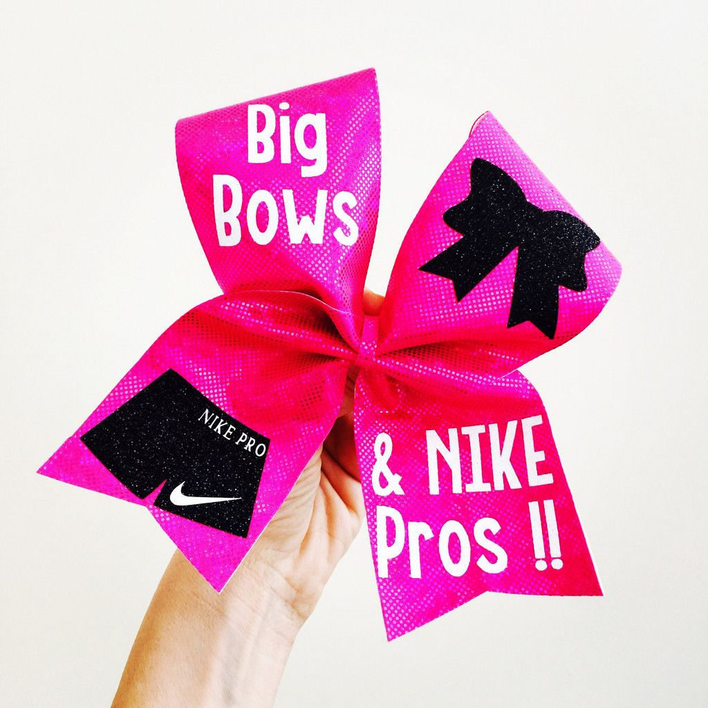 8ece3c275fe37 Holographic Pink Big Bows and Nike Pros Cheer Bow | Nike Cheer Bows ...