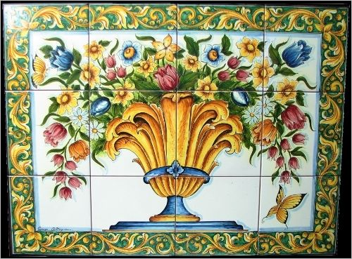 Pannelli ceramica di caltagirone dipinti a mano vaso fiorato in