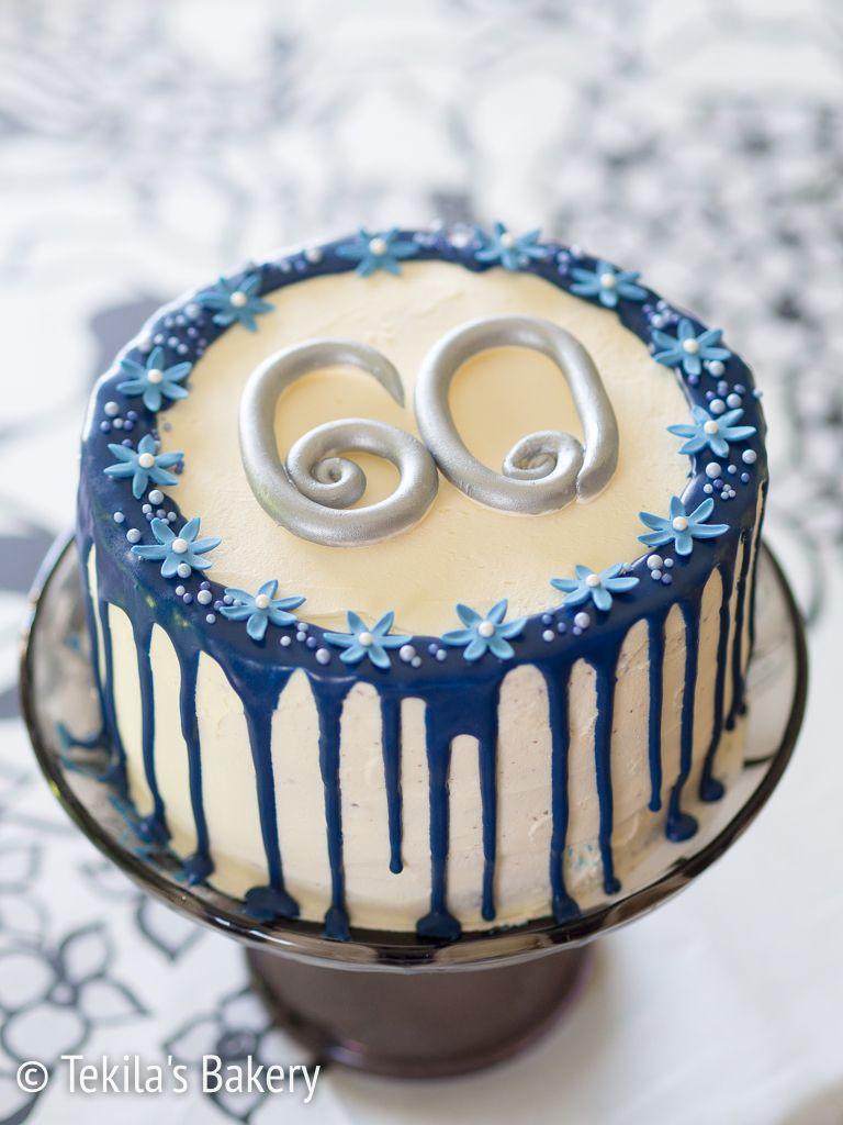 sini-valkoinen drip cake. White - blue drip cake with decorates #tekilasbakery http://www.tekila.fi/sini-valkoinen-drip-cake/