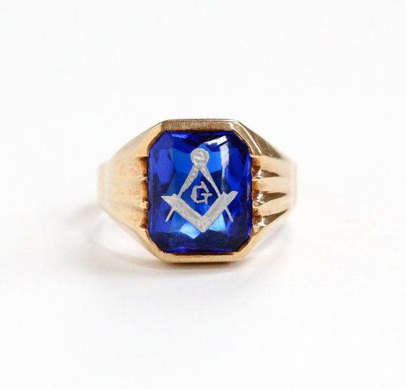 Sale Vintage 10k Yellow Gold Masonic Ring 1940s Size 9 Created Blue Spinel Stone Freemason Mason Simulat Masonic Ring Masonic Jewelry Antique Rings Vintage
