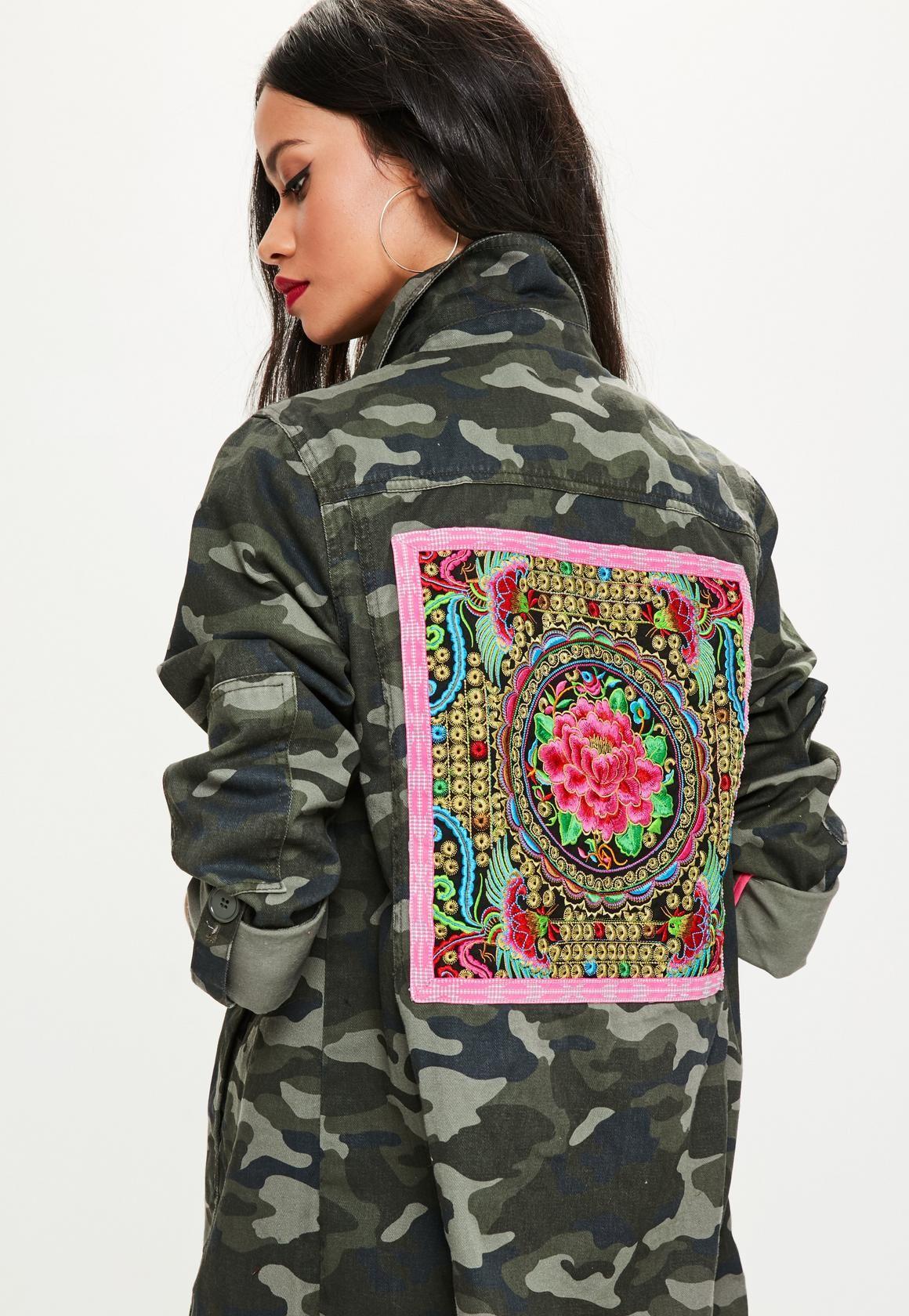 Khaki Camo Embroidered Jacket - Missguided