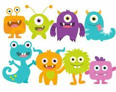 Little Monster Birthday Clipart Cute Monsters Party Silly Funny