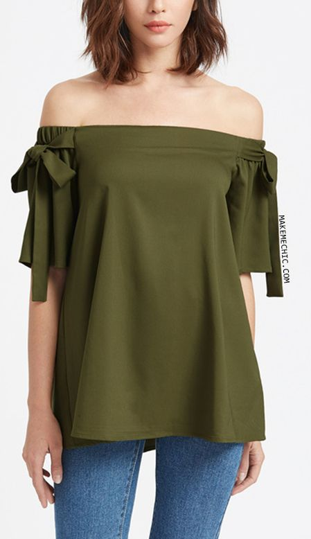b895546ba1cfd Olive Green Off The Shoulder Bow Tie Detail Swing Top