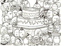Adult coloring page Doodle cake | раскраски | Pinterest | Adult ...