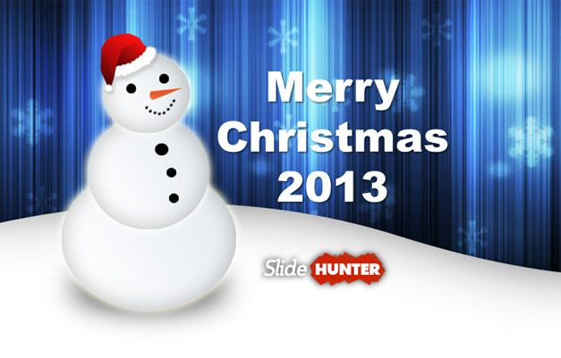 Merry Christmas Greeting Card with Snowman picture and PowerPoint - christmas powerpoint template