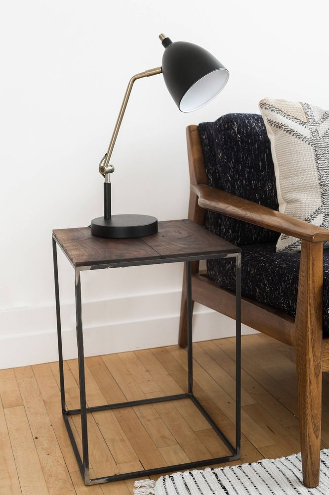 Wood And Metal Bedside Table: End Table Night Side Stand Walnut Wood Metal Steel Modern