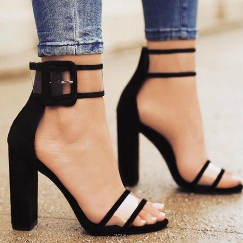 Women Summer Block High Heels Buckle Ankle Strap Open Toe Party Sandals Shoes GA