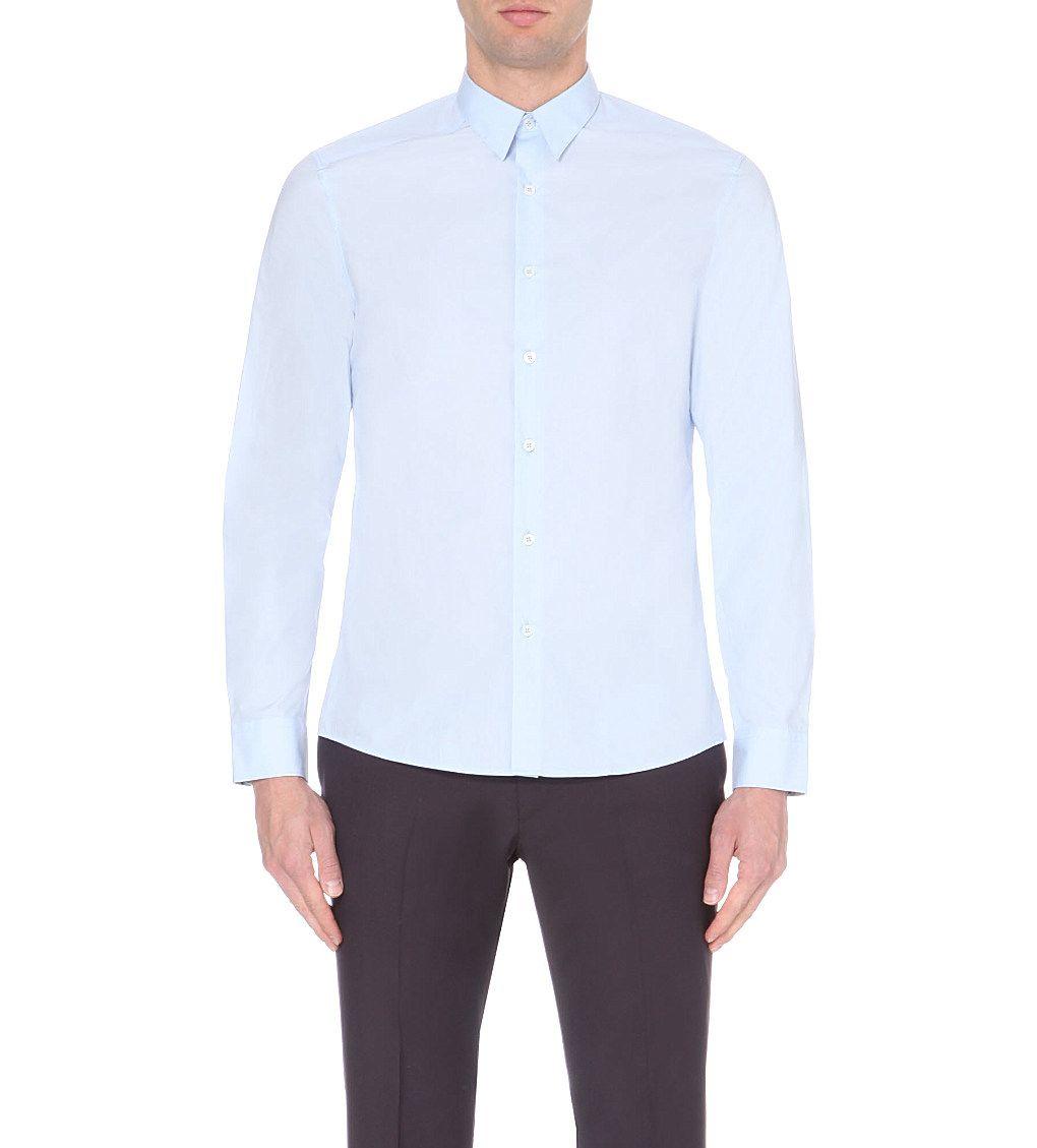 PS BY PAUL SMITH Slim-fit cotton-poplin shirt (Sky