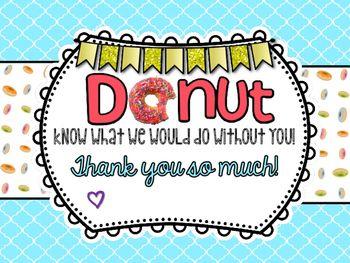 DONUT Thank You Sign   Teaching Ideas/Education   Teacher ...